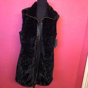 Andrew Marc New York Black Faux Fur/Leather Vest